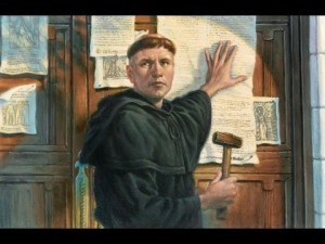 Luther nailing the theses